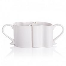 Zakochane, porcelanowe kubeczki - Dwa idealnie pasujące do siebie kubeczki w ...