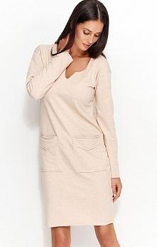 Numinou NU51 sukienka nude Modna sukienka, wykonana z wysokiej jakości materiału dresowego, prosty fason