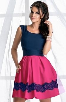 Bicotone 2098-27 sukienka granatowa Zjawiskowa dwukolorowa sukienka, góra dopasowana, fason modeluje i wysmukla sylwetkę