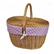 Wiklinowy kosz na piknik obszyty materiałem - wzór białe kropki na fioletowym...