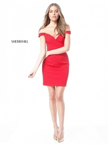 Beaded Embellishment Off-The-Shoulder Red Jersey Homecoming Dresses Custom 20...