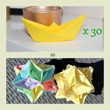30 łódek origami + klej + przepiękna, papierowa kula! :) Instrukcja: lubietwo...