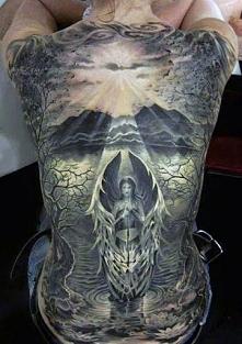 amazing angel tattoo on back