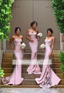 Elegante Rosa Brautjungferkleider Lang Günstig Meerjungfrau Kleider Hochzeit Brautjungfern