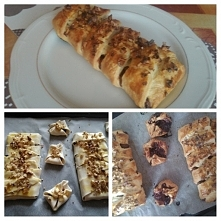 Ciasto francuskie z czekoladą ( te male są z dżemem figowym )