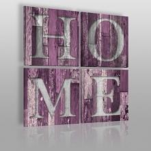 Fioletowy HOME na drewnie - nowoczesny obraz do salonu