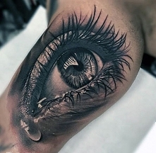 amazing teary eye mens inner arm tattoo