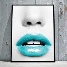 Plakat z motywem  turkusowych ust. Dekoracja idealna do sypialni lub salonów ...