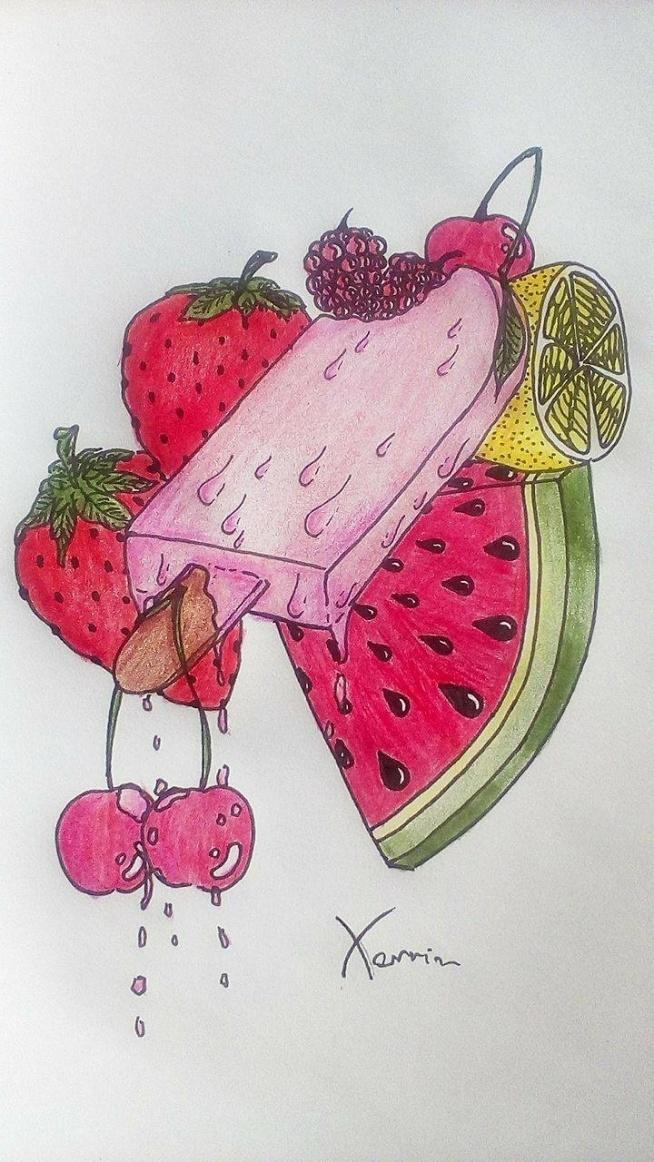Wakacyjno-popartowy lód z owocami, topniejący jak ostatnie dni wakacji :)
