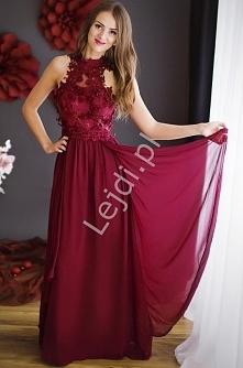 Oryginalna bordowa długa suknia na szyję . Suknia ozdobiona wzorami 3D - kwia...