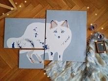 obraz wieloczęściowy przedstawiający lisa skandynawskiego. wymiary : 40 x 50 cm, 30 x 40 cm, oraz 18 x 24 cm.  Malowane ręcznie.  LINK w komentarzu