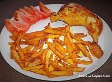 Frytki z dyni, kurczak i pomidorek