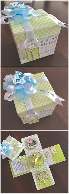 pudełko exploding box - pierwsze urodzinki