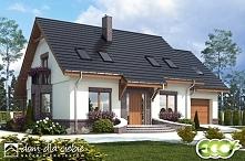 Projekt stylowego domu z poddaszem użytkowym, Dom Dla Ciebie 2 z garażem - widok od strony frontowej.