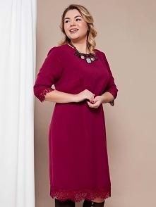 Elegancka sukienka z wysokiej jakości tkaniny kostiumowej w promocyjnej cenie na stronie thecovershop.pl Rozmiar 52.