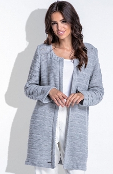 Fobya F421 sweter szary Elegancki kardigan, wykonany z miękkiej sweterkowej dzianiny w ażurowy wzór, z długim rękawem