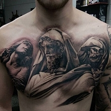 incredible 3d chest tattoo