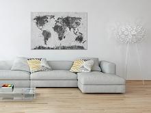 Mapa świata w czerni i biel...