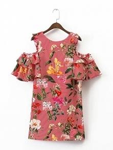 Piękna, zwiewna sukienka w kwiaty, z cold shoulders. Piękna :) Kliknij w zdję...