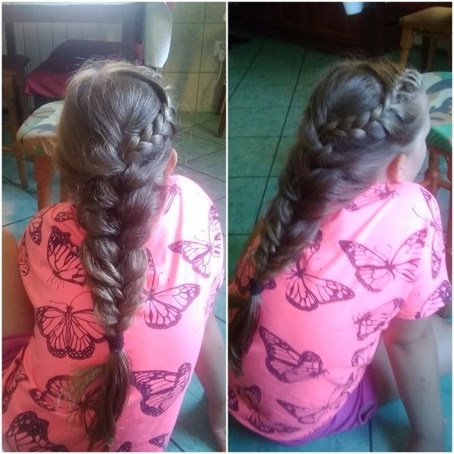 Fryzura zrobiona przeze mnie z włosów siostrzenicy, która ma 10 lat.