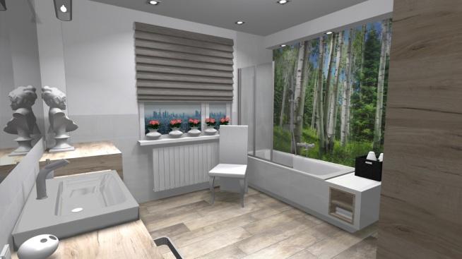 Naturalna łazienka Z Fototapeta Za Szkłem Na Projekt