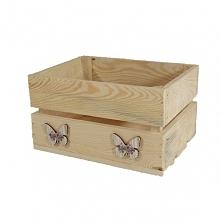 Drewniana skrzynka + motylki (BOX 25/19/14)