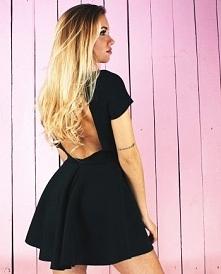 NUNU sukienka czarna rozkloszowana z odkrytymi plecami