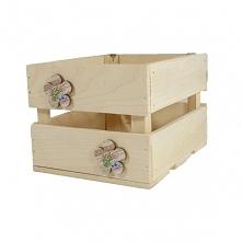 Drewniana skrzynka + kwiatki (BOX22/18/15)