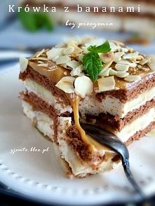 Pyszne ciasto bez pieczenia - Krówka z bananami. *.* Przepis po kliknięciu na...