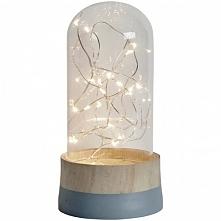 Lampka dekoracyjna nocna. W środku szklanego kosza widnieją piękne kropelki światła LED, które tworzą niesamowity klimat we wnętrzu