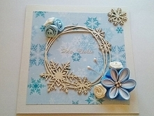 Zimowa kartka ze śnieżynkami
