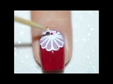 Stamping over red! Cute nai...