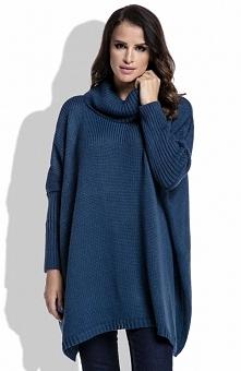 FIMFI I217 sweter granatowy Sweter z golfem, ciepły sweter, jednokolorowy