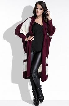 FIMFI I207 sweter bordo Komfortowy sweter, wykonany z przyjemnej dwukolorowej dzianiny, prosty, długi krój