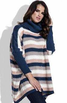 FIMFI I211 sweter granatowy Ciepły swobodny sweter, z golfem, sweter z długimi rękawami zakończonymi ściągaczami, modne zestawienie kolorów