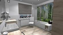 Naturalna łazienka z fototapeta za szkłem.
