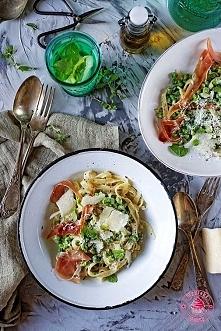 Spaghetti z groszkiem zielonym - Wypieki Beaty