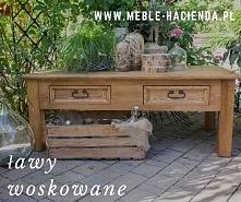 drewniana ława, stolik kawowy woskowany