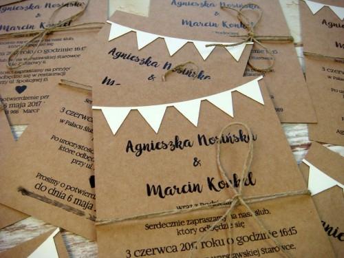 Zaproszenie ślubne Dwustronne Z Motywem Chorągiewek Więcej Na Na