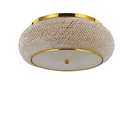 PASHA PL10 100791 IDEAL LUX lampa sufitowa złota    Ekskluzywna lampa wisząca składająca się ze stalowej ramy oraz ciętych luksusowych kryształków sprawiających, że produkt ten wyróżnia się na tle innych. Emituje spokojnym przytłumionym światłem efektownie wydobywającym się spod dekoracji lampy.
