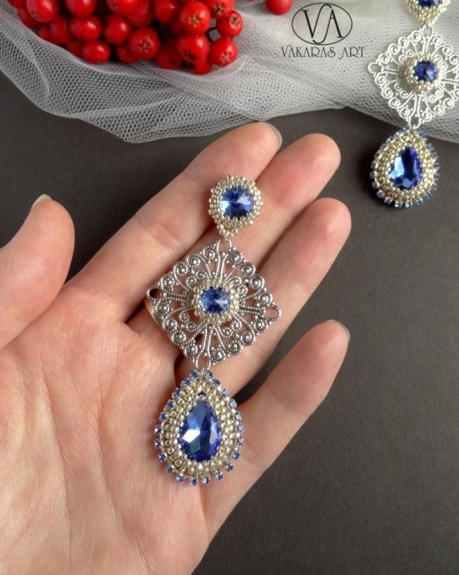 Royal 40 - kolczyki z kryształkami Autor: VAKARAS ART (Slomkad Dorota Mazur)