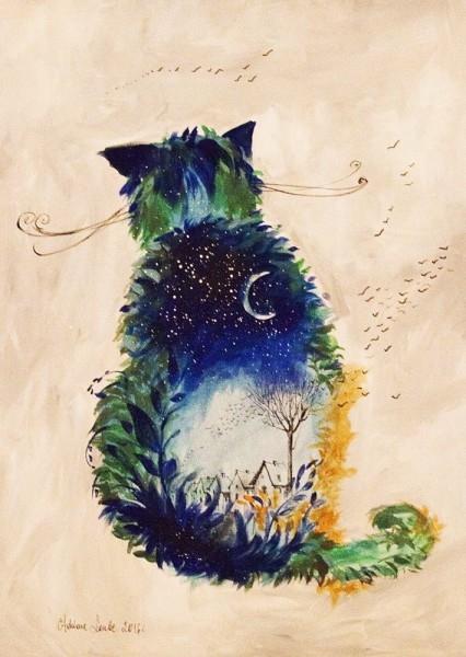 Kot Nocny Obraz Namalowany Farbami Akrylowymi Na Pł Na Obrazy
