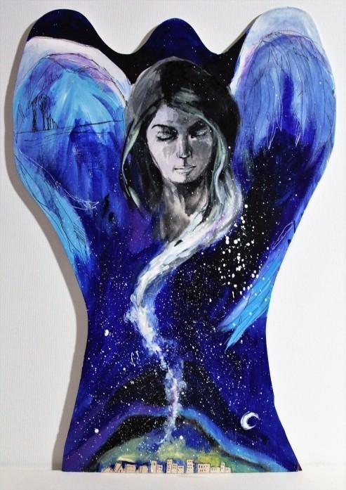 """""""ANIOŁ CZUWAJĄCY""""- obraz namalowany farbami akrylowymi na drewnie przez artystkę plastyka Adrianę Laube. Wykonany z wielką starannością i dbałością o szczegóły na drewnie w kształcie anioła. Pokryty zabezpieczającym lakierem. Na uroczej pętelce do zawieszenia. Obraz sygnowany. Wymiary: wysokość 48cm, szerokość w najdłuższym miejscu 40cm Na sprzedaż."""