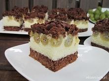 Ciasto kokosowo - agrestowe  Kakaowe kruche ciasto z kokosową warstwą i agres...