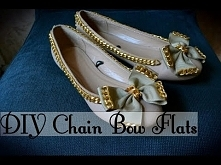 DIY Bow Front Chain Flat Shoes