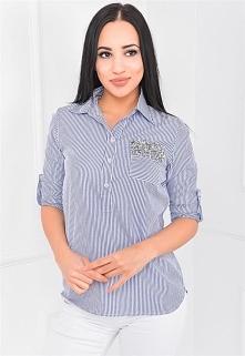 Asymetryczna koszula w paski z błyszczącą kieszonką