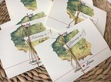 zaproszenia ślubne z mapą P...