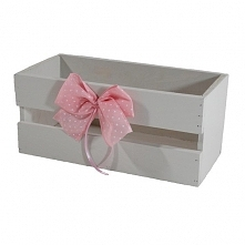 Drewniana skrzynka, kolor biały zdobiona kokardą (BOX 23/11/10)