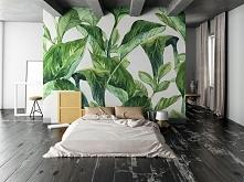 sypialnia marzeń - motyw liści ciekawie kontrastuje z surową, nowoczesną aran...