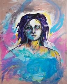"""""""ANIOŁ"""" obraz namalowany farbami akrylowymi na płótnie o wymiarach ..."""